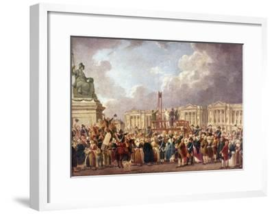 Execution by Guillotine in Paris During the French Revolution, 1790S (1793-180)-Pierre Antoine De Machy-Framed Giclee Print