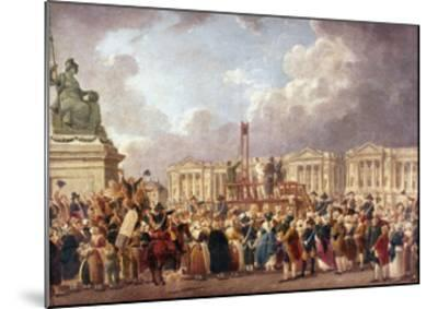 Execution by Guillotine in Paris During the French Revolution, 1790S (1793-180)-Pierre Antoine De Machy-Mounted Giclee Print