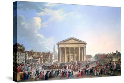 Ceremony at the New Church of St Genevieve, 1765-Pierre Antoine De Machy-Stretched Canvas Print