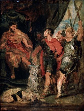Mucius Scaevola before Porsenna, 1630S-Peter Paul Rubens-Framed Giclee Print