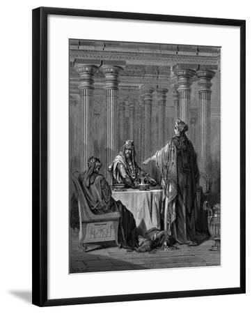 Esther (C450 B) before Her Husband King Ahasuerus (Xerxes) of Persia, 1866-Gustave Dor?-Framed Giclee Print
