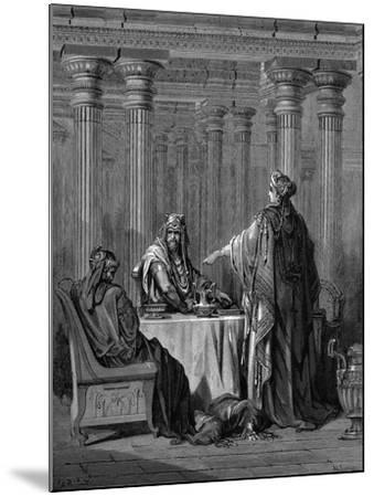 Esther (C450 B) before Her Husband King Ahasuerus (Xerxes) of Persia, 1866-Gustave Dor?-Mounted Giclee Print
