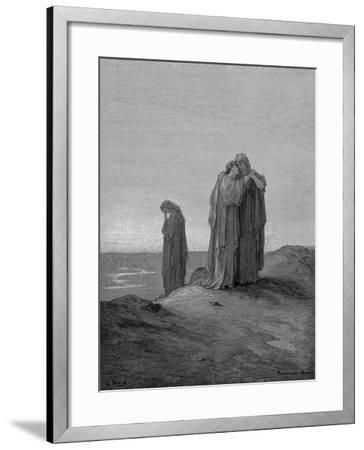 Ruth Embracing Her Mother-In-Law Naomi and Promising to Stay with Her Now They are Bereaved, 1866-Gustave Dor?-Framed Giclee Print