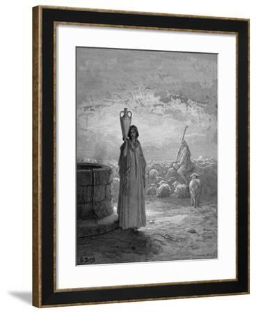 Jacob, Keeping Laban's Flocks, Sees Rachel at the Well, 1866-Gustave Dor?-Framed Giclee Print