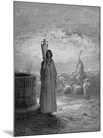 Jacob, Keeping Laban's Flocks, Sees Rachel at the Well, 1866-Gustave Dor?-Mounted Giclee Print