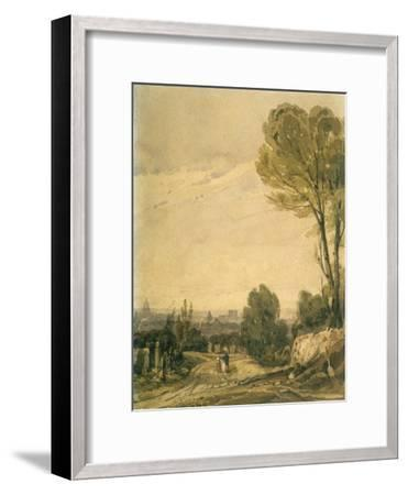 Paris Seen from the Pere Lachaise Cemetery, C1825-Richard Parkes Bonington-Framed Giclee Print