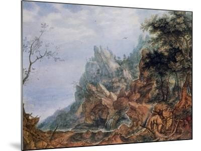 St Jerome in a Rocky Landscape, C1596-1639-Roelandt Savery-Mounted Giclee Print