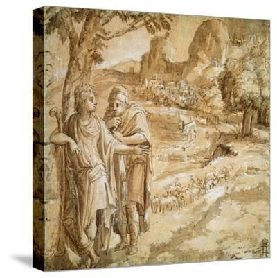 Shepherd and Piligrim in a Landscape, C1550-Pirro Ligorio-Stretched Canvas Print