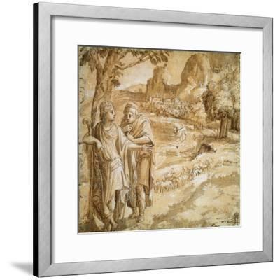 Shepherd and Piligrim in a Landscape, C1550-Pirro Ligorio-Framed Giclee Print