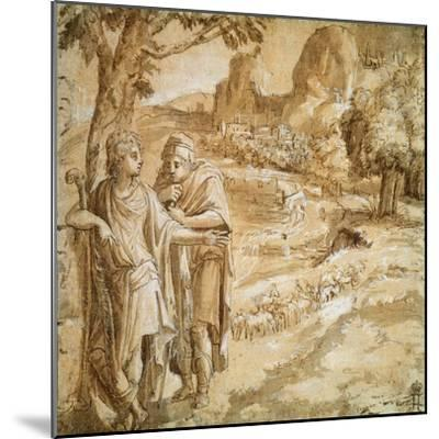 Shepherd and Piligrim in a Landscape, C1550-Pirro Ligorio-Mounted Giclee Print