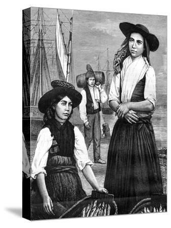 Portuguese Women, 19th Century- Ronjat-Stretched Canvas Print