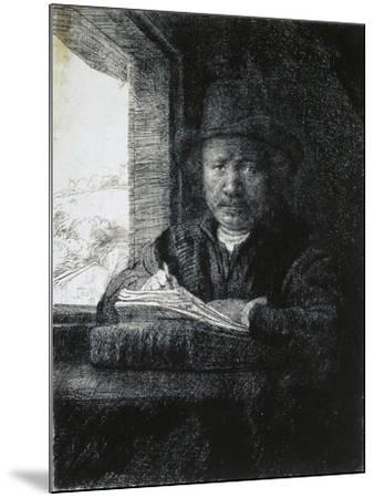 Self-Portrait Drawing by a Window, 1648-Rembrandt van Rijn-Mounted Giclee Print