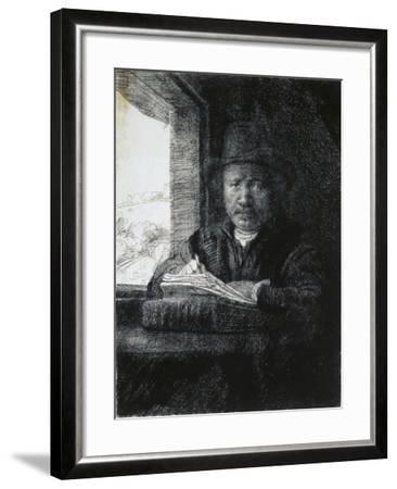 Self-Portrait Drawing by a Window, 1648-Rembrandt van Rijn-Framed Giclee Print