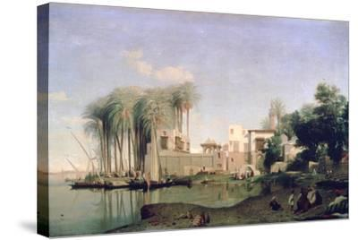 Beni Suef on the Nile, 19th Century-Prosper Georges Antoine Marilhat-Stretched Canvas Print