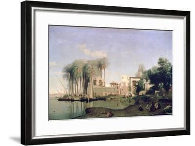 Beni Suef on the Nile, 19th Century-Prosper Georges Antoine Marilhat-Framed Giclee Print