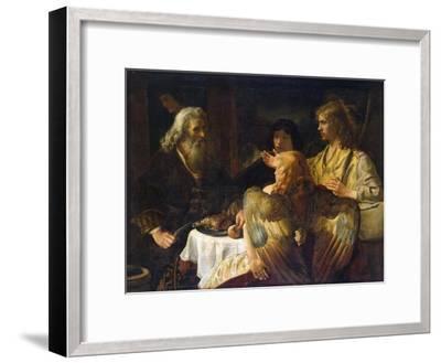 Abraham and the Three Angels, 1630S-Rembrandt van Rijn-Framed Giclee Print