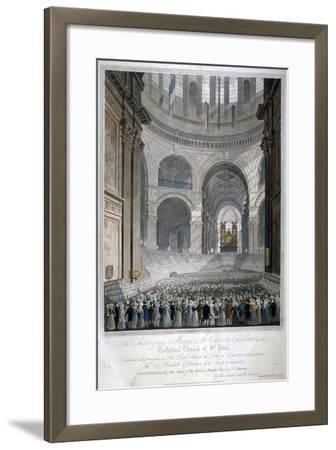 Anniversary Meeting of the Charity Children in St Paul's Cathedral, City of London, 1826-Robert Havell the Younger-Framed Giclee Print
