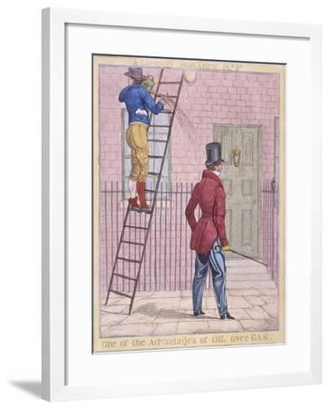 One of the Advantages of Oil over Gas, 1821-Richard Dighton-Framed Giclee Print