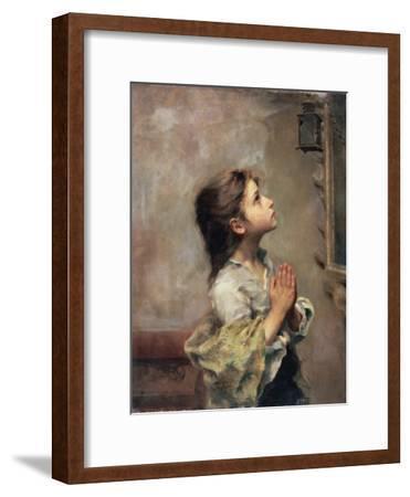 Praying Girl, Italian Painting of 19th Century-Roberto Ferruzzi-Framed Premium Giclee Print