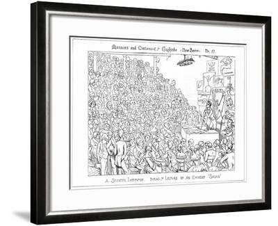 A Scientific Institution. During Ye Lecture of an Eminent 'Savan, 1849-Richard Doyle-Framed Giclee Print