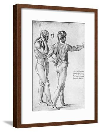 Two Male Nude Studies, 1515-Raphael-Framed Giclee Print