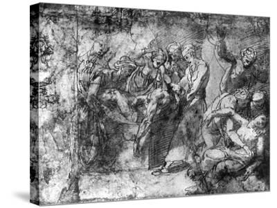 Study for an Entombment, Attributed to Raphael, 1913-Raphael-Stretched Canvas Print