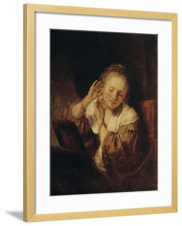Young Woman with Earrings, 1657-Rembrandt van Rijn-Framed Giclee Print