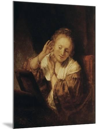 Young Woman with Earrings, 1657-Rembrandt van Rijn-Mounted Giclee Print