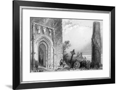 Entrance to a Temple, Clonmacnoise, Ireland, 19th Century-R Brandard-Framed Giclee Print