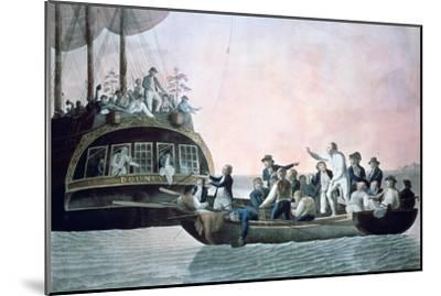 The Mutineers Turning Lieut Bligh...And Crew Adrift from His Majesty's Ship the Bounty, 1790-Robert Dodd-Mounted Giclee Print