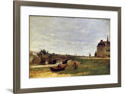 Landscape with a Bridge, Early 1870S-Stanislas Lepine-Framed Giclee Print