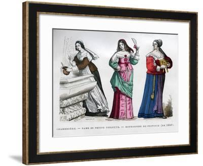Chambermaid, Lady and Provincial Bourgeoise Lady, 1640 (1882-188)- Tamisier-Framed Giclee Print