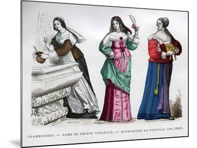 Chambermaid, Lady and Provincial Bourgeoise Lady, 1640 (1882-188)- Tamisier-Mounted Giclee Print