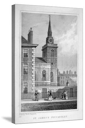 View of the North-Western End of St James's Church, Piccadilly, London, C1827-Thomas Barber-Stretched Canvas Print