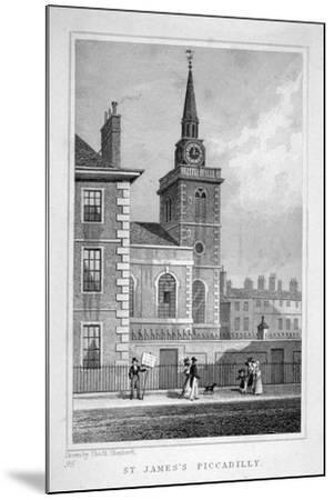 View of the North-Western End of St James's Church, Piccadilly, London, C1827-Thomas Barber-Mounted Giclee Print