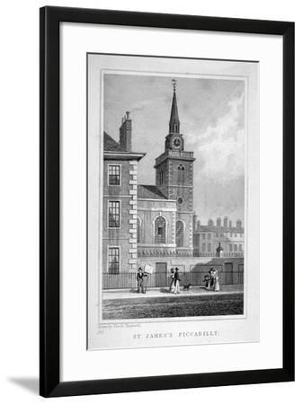View of the North-Western End of St James's Church, Piccadilly, London, C1827-Thomas Barber-Framed Giclee Print