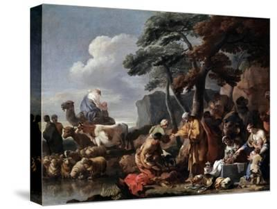 Jacob Burying the Strange Gods under the Oak by Shechem, 17th Century-Sébastien Bourdon-Stretched Canvas Print
