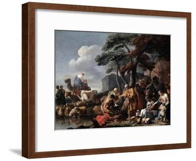 Jacob Burying the Strange Gods under the Oak by Shechem, 17th Century-Sébastien Bourdon-Framed Giclee Print