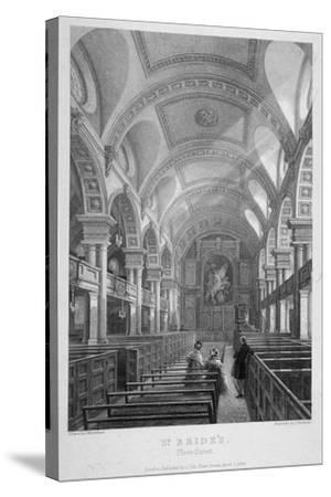 St Bride's Church, Fleet Street, City of London, 1839-T Turnbull-Stretched Canvas Print