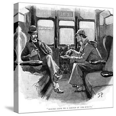 The Adventure of Silver Blaze, Holmes and Watson on Train-Sidney E Paget-Stretched Canvas Print