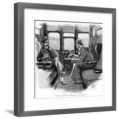 The Adventure of Silver Blaze, Holmes and Watson on Train-Sidney E Paget-Framed Giclee Print