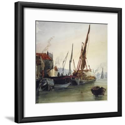View of Boats Moored on the River Thames at Bankside, Southwark, London, C1830-Thomas Hollis-Framed Giclee Print