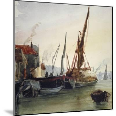 View of Boats Moored on the River Thames at Bankside, Southwark, London, C1830-Thomas Hollis-Mounted Giclee Print