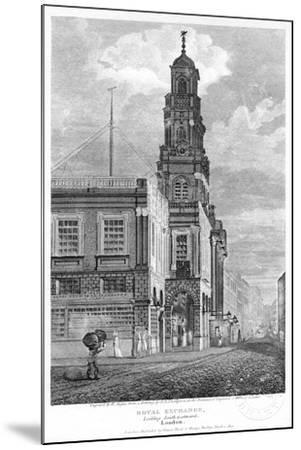Royal Exchange, Looking South-West, City of London, 1809-W Angus-Mounted Giclee Print