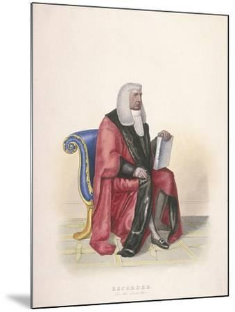 Recorder of the City of London, Sir John Silvester, in Civic Costume, 1825-Thomas Lord Busby-Mounted Giclee Print
