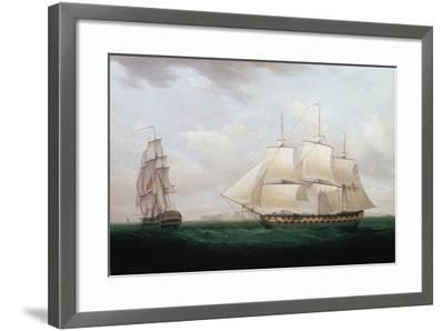 Two East Indiamen Off a Coast, Thomas Whitcombe, C1850-Thomas Whitcombe-Framed Giclee Print