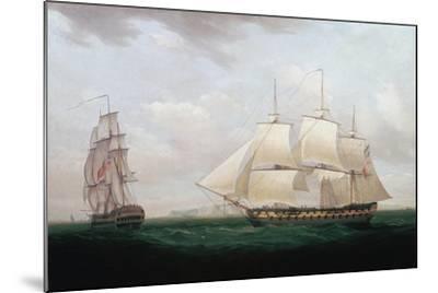 Two East Indiamen Off a Coast, Thomas Whitcombe, C1850-Thomas Whitcombe-Mounted Giclee Print
