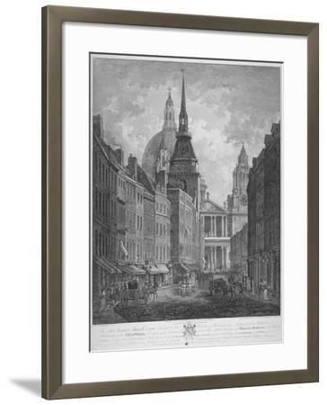 Ludgate Hill, Church of St Martin Within Ludgate and St Paul's Cathedral, City of London, 1795-Thomas Malton II-Framed Giclee Print
