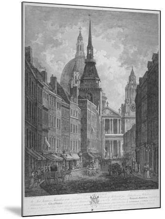 Ludgate Hill, Church of St Martin Within Ludgate and St Paul's Cathedral, City of London, 1795-Thomas Malton II-Mounted Giclee Print