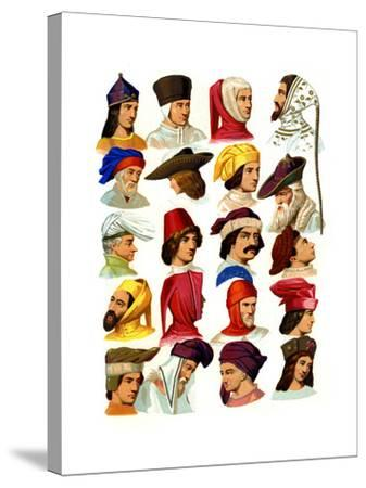 Men's Hats of Different Classes of Society, 13th-16th Century-Thurwanger Freres-Stretched Canvas Print